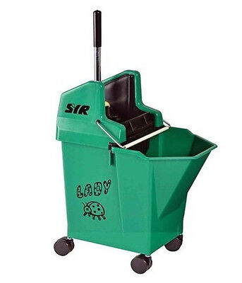 GREEN Kentucky Mop Bucket and Wringer, SYR Ladybug with portion control 15 litre