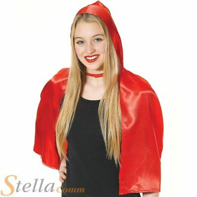 Ladies Red Riding Hood Cape Hooded Short Cloak Fairytale Fancy Dress Costume