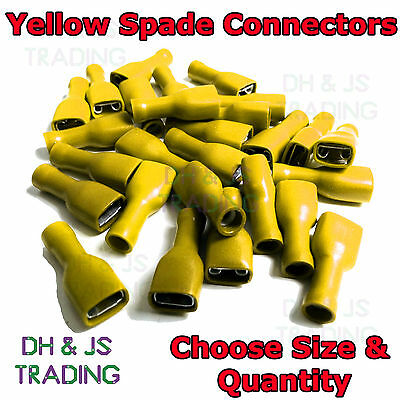 Yellow Fully Insulated Female Spade Terminals Crimp On Connector Electrical F/S