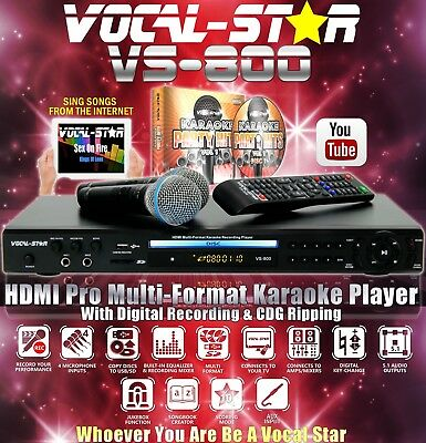 Vocal-Star Vs-800 Cdg Dvd Hdmi Bluetooth Karaoke Machine 2 Mics & 150 Songs A