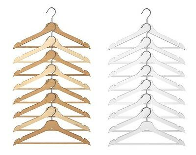 Wooden Hangers Wardrobe Polished Wood Hanger Coat Garment Clothes Trouser Bar