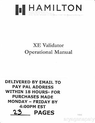 Hamilton XE Operation Manual PDF sent by email
