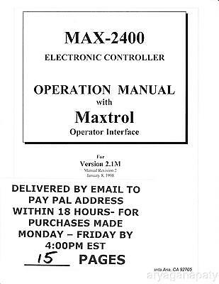 MAX-2400 Operation Manual PDF sent by email