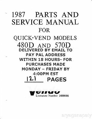 Vendo 1987 Parts & Service Manual for Quick-Vend Models 480 and 570 by email