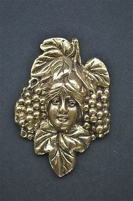 Small Art Nouveau ladies head with grapes solid brass furniture mount ormalu H2