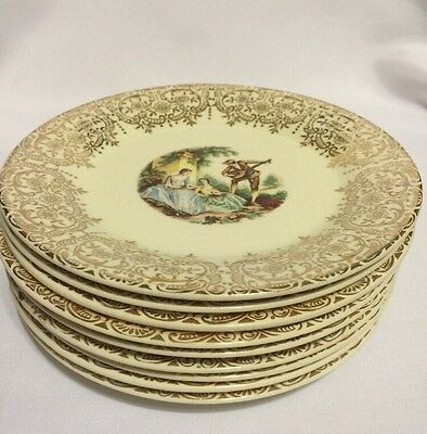 Vtg 9 Bread Plates Triumph American Limoges China d'Or 22K Gold IT-S284 E91315
