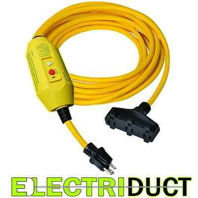 GFCI Power Extension Cord 3 Outlets 50 FT Feet Cord - Electriduct