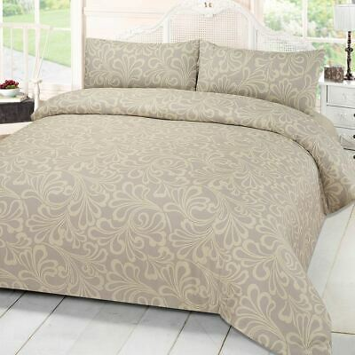 Damask Print Quilt Duvet Cover With Pillowcase Bedding Set Single Double King