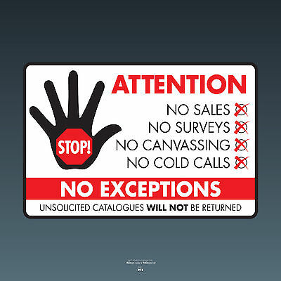 SKU073 Stop Cold Calling Door Sticker No Canvassers Callers Sign - 150mm x 100mm