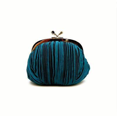 Teal Shirred Satin Small Evening Style Clutch Bag (Sparkle-1848)