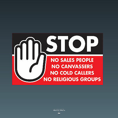 SKU80 Stop Cold Calling Door Sticker No Canvassers Callers Religious Groups Sign