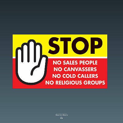 SKU79 Stop Cold Calling Door Sticker No Canvassers Callers Religious Groups Sign