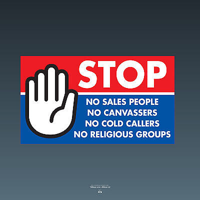 SKU75 Stop Cold Calling Door Sticker No Canvassers Callers Religious Groups Sign