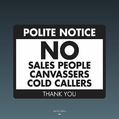 SKU069 Stop Cold Calling Door Sticker No Canvassers Callers Sign - 150mm x 120mm