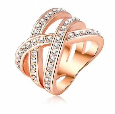 Bague Or Rosé Strass Fashion Tendance Ring Alliance Femme Fille Fantaisie Chic