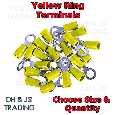 Yellow Insulated Ring Terminals Electrical Splice Crimp Connector Eye Terminal