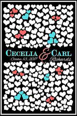 Wedding Guest Book Alternative Poster Sign - Customized and Printed 200 Hearts