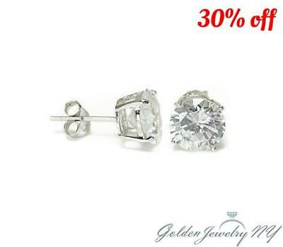 14K Solid White Gold Round CZ Stud Earrings Basket Setting sizes2-10mm FREE BOX