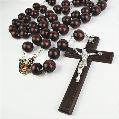 Big Dark Brown Wooden Beads Wall Rosary With Wooden Cross & Holy Family Icon