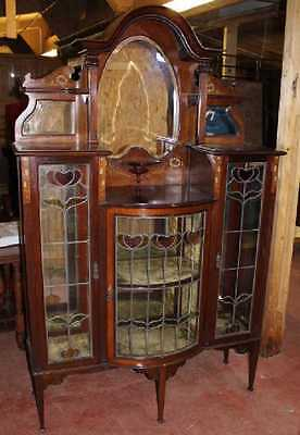 Mahogany Arts & Crafts China Cabinet with inlay and pretty Stained Glass