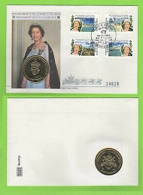 Turks & Caicos Islands 1992 40th Anniv of QEII Accession set on 5 Crowns FDC
