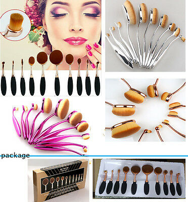 10Pcs Pro Beauty Toothbrush Shaped Oval Cream Puff Makeup Brushes Set Kit