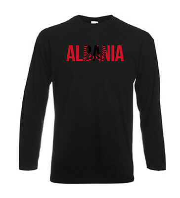 T-shirt noir homme manches longues fruit of the loom ALBANIA albanie