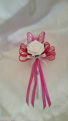 Pink White Wedding Flowers Bridesmaid Flower Girl Butterfly Wand Bride Satin