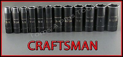 """CRAFTSMAN AIR TOOLS 12pc 1/2"""" Dr Easy Read DEEP SAE IMPACT socket wrench set"""