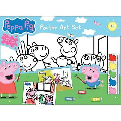 Peppa Pig Poster Art Set - 6 Colour in Posters, 6 x Paints, Paint Palette, Brush