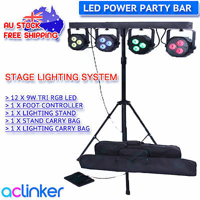 12 x 9W DJ 4 Bar LED Parcan Pack Stage Light Foot Controller Stand Party Bar
