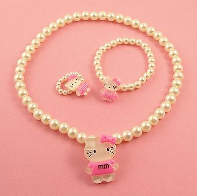A Girls Kitty Necklace bracelet and Ring Set  N1292