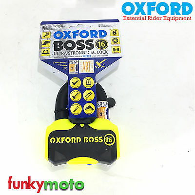Oxford Boss 16 Disclock Yellow Lk316 U-Lock D-Padlock Shackle Motorbike Scooter