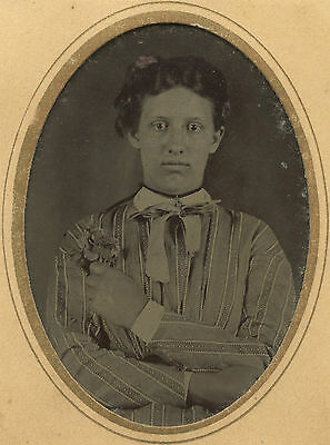 Antique Artistic American Beauty Flowers Emotions Sad Eyes Folk  Tinted Tintype