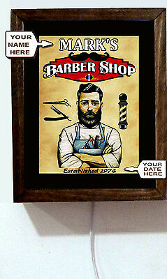 Personalized Name Retro Vintage Barber Shop Steampunk Salon Light Lighted Sign