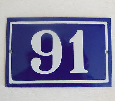OLD FRENCH HOUSE NUMBER SIGN door gate PLATE PLAQUE Enamel steel metal 91 Blue
