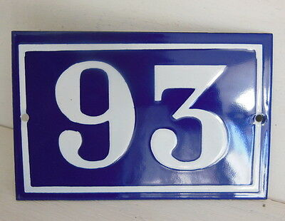 OLD FRENCH HOUSE NUMBER SIGN door gate PLATE PLAQUE Enamel steel metal 93 Blue