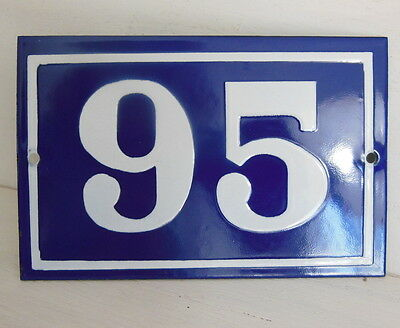 OLD FRENCH HOUSE NUMBER SIGN door gate PLATE PLAQUE Enamel steel metal 95 Blue