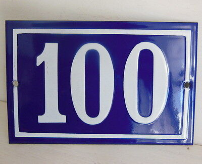 OLD FRENCH HOUSE NUMBER SIGN door gate PLATE PLAQUE Enamel steel metal 100 Blue