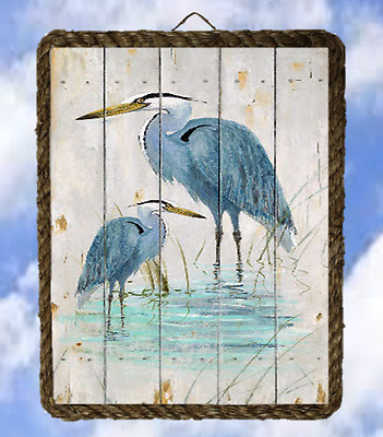 Ocean Lake 550 Two Blue Heron fishing Wall Home Decor Art Prints lalarry