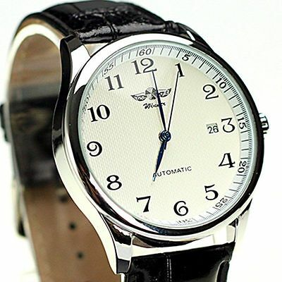 WINNER Men Classic Automatic Mechanical Luxury Faux Leather Calendar Wrist Watch