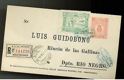 1925 Uruguay Registered First Day Cover # C9 & 305