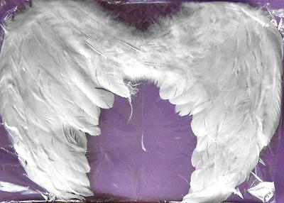WHITE Feather Angel Wings 52x35cm Fancy Dress Costume Party Accessory NEW