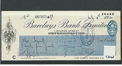 wbc. - CHEQUE - CH48- USED -1940 - BARCLAYS BANK - PETERBOROUGH