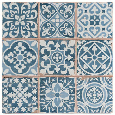 Fez Vintage Blue Patchwork Moroccan Victorian Encaustic Style Wall