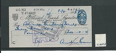 wbc. - CHEQUE - CH58- USED -1950's - MIDLAND BANK ,SEVEN DIALS, HOVE, SUSSEX