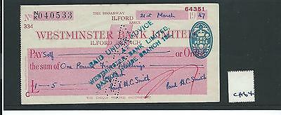 wbc. - CHEQUE - CH64- USED -1940's - WESTMINSTER BANK, ILFORD