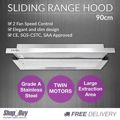 Stainless Slide Out Range Hood Kitchen Canopy Rangehood Exhaust Extractor 90cm