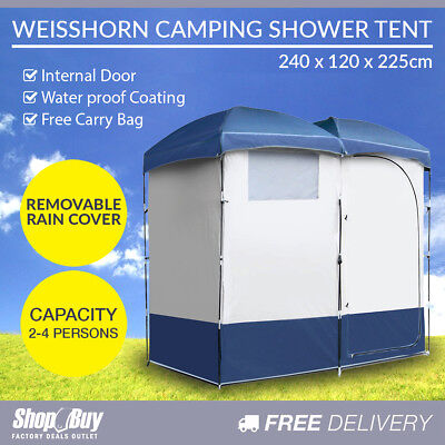 Double Camping Shower Toilet Tent Portable Outdoor Ensuite Change Room Shelter