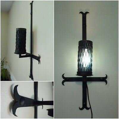 Antique Iron CROSS SPANISH REVIVAL GOTHIC Medieval WALL SCONCE Light Glass Shade